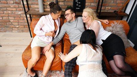 One Lucky Guy Fucking Three Mature Nymphomaniacs
