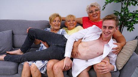 Three Mature Ladies Share One Naught Toy Boy