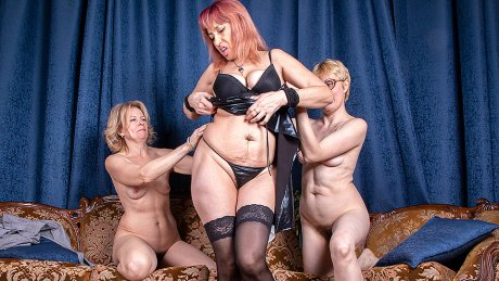 Three Mature Ladies Go All The Way On The Couch