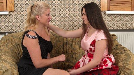 Naughty Milf Having Fun With An Unshaved Lesbian Teen
