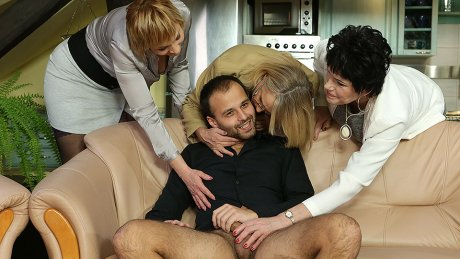 Three Mature Ladies Catch A Guy Jerking Off