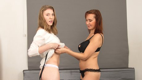 Naughty Old And Young Lesbians Rock Out With Their Dildo Out