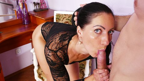 Horny mom gets fucked hard in her pussy and ass