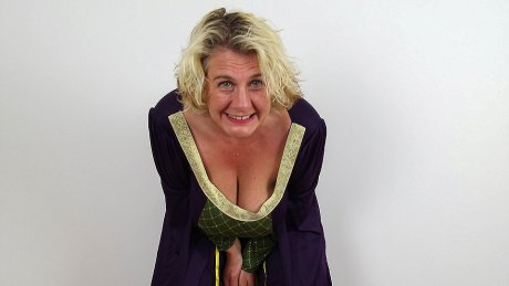 Big breasted Camilla loves showing off her medieval dress to her lover