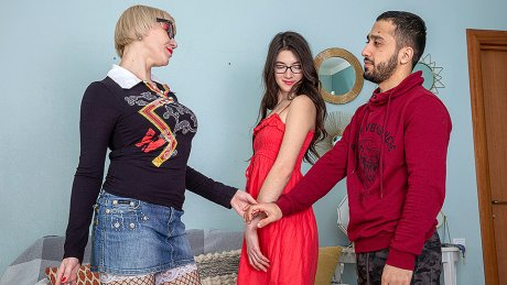 Young couple getting taught by a horny teacher