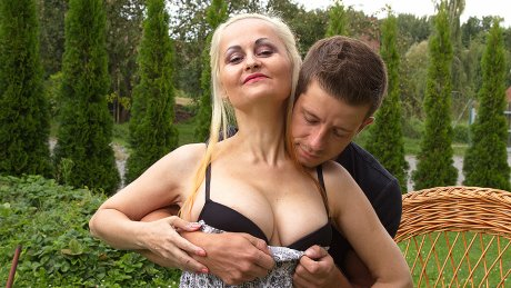 Cougar fucked at a picnic by a toyboy