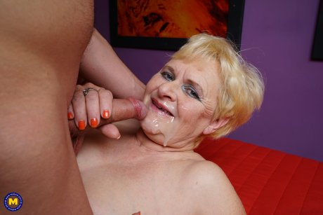 Granny loves to suck on a young mans cock
