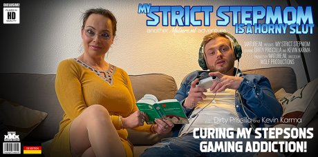 Horny MILF tries to cure her stepsons gaming addiction