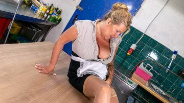Big Breasted Cleaning Lady Getting Dirty In The Kitchen - presnted by Mature.nl