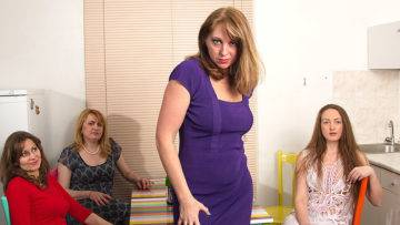 Four Naughty Housewives Explore Their Lesbian Desires - presnted by Mature.nl