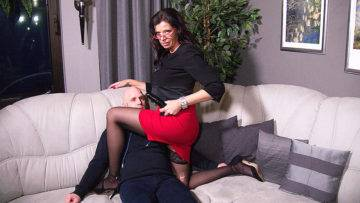 German Mature Mistress Fucking A Guy Up The Ass With A Strapon - presnted by Mature.nl