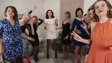 Nine Horny Women Have A Sex Party And Share One Lucky Guy - presnted by Mature.nl